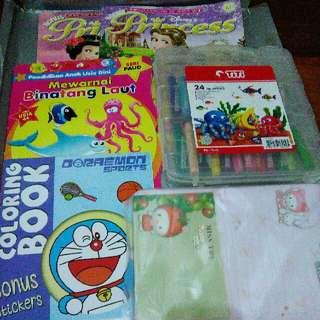 Paket Majalah Princess, Pensil Warna Crayon Titi, Buku Mewarnai Coloring Book Dan Kertas