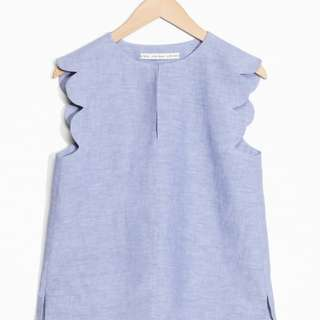 & Other Stories Scallop Linen Chambray Blouse