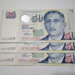 Singapore Notes $50 3pcs with nice number