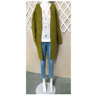長版厚實包芯紗針織毛衣開衫外套