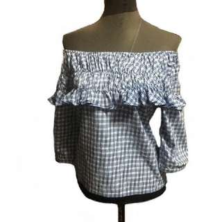 AUNTMARIE'S CHECKERED OFF SHOULDER TOP