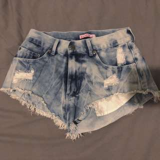 Denim Acid Wash Distressed Shorts