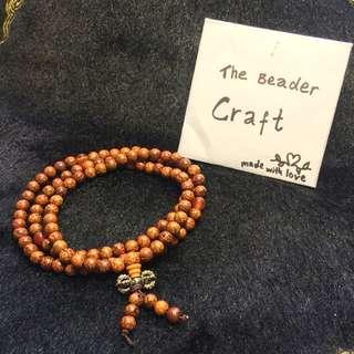 Rosary 3 wraps brown beaded bracelet