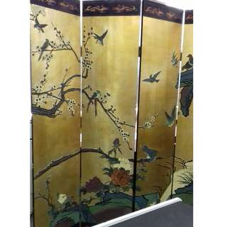 Antique Double Sided Lacquered Divided Screen