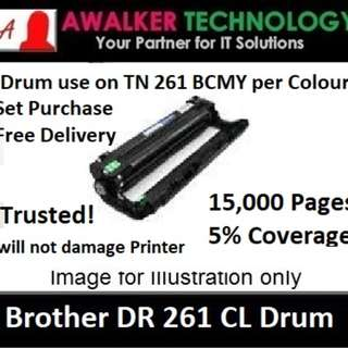 Brother Drum DR261CL use with Toner TN261 BCMY Compatible will not damage printer with Warranty Trusted