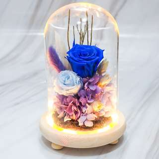 Blue Preserved Rose Glass Dome -OOS