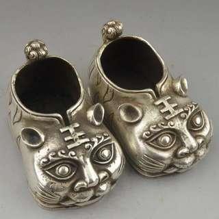 銀銅鞋子擺件