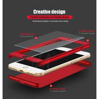 360 degrees Full Cover Protective Case for iPhone Plain Color Red Gold Blue Black Rosegold