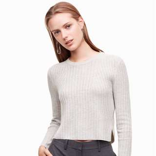 Aritzia BABATON Light Grey Nathanial crop top - S