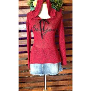 Red Knitted Hoodie