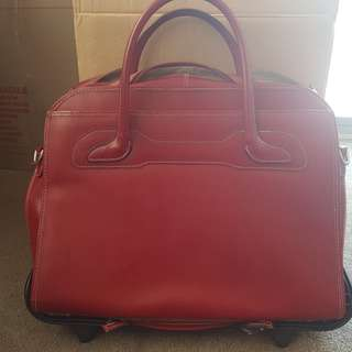 Laptop roller bag. Red leather