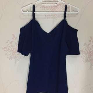 Dark blue sabrina top