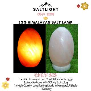 Pink Himalayan Salt Lamp - Egg Design (with marble base and bulb + delivery)