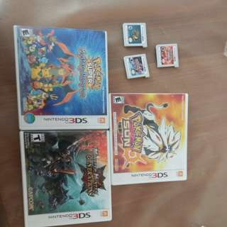 3ds games for sale:pokemon y/omegaruby/sun/mystery dungeon, monster hunter generations/4 ultimate,