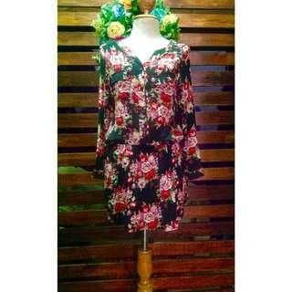 Long Floral Top with Garterized Waist