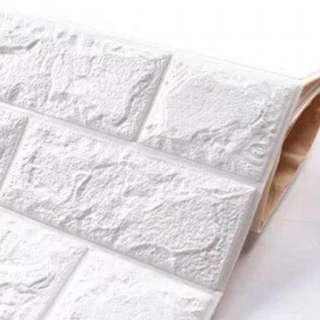 白色3D牆貼三張70x77cm