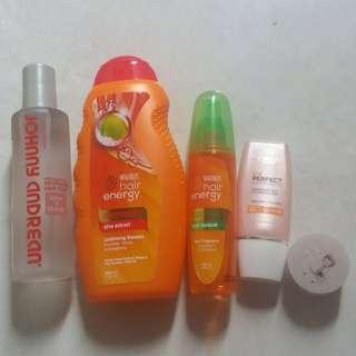 PRELOVED BUNDLE / toner ; conditioning shampoo ; makarizo fragrant hair spray ; innisfree color clay mask ; loreal suncreen