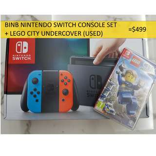 BNIB Neon NintendoSwitch + 1 Game (Used)