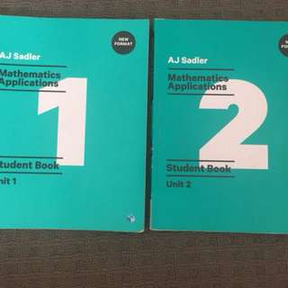 Sadler Unit 1 and 2 Mathmatics Applications Textbooks