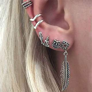 Buddha owl ear cuff set