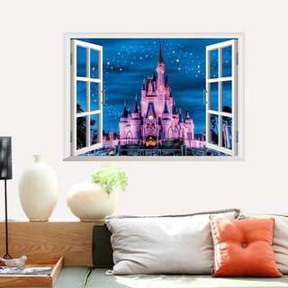 70X50cm Disny Land Dreamy Castle Night View Window PVC Wall Sticker Poster DIY Removable Decors Ceiling Girl's Room Party Decor Poster