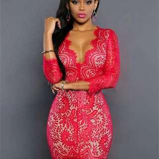 Coral Lace Body Con Dress