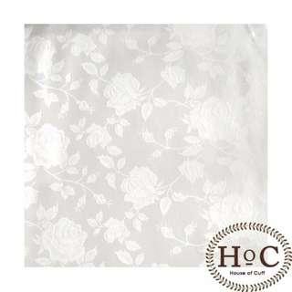 Houseofcuff Pocket Square SapuTangan Jas Wedding Best Man WHITE FLOWER POCKET SQUARE