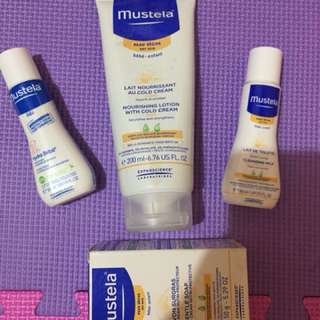 Mustela baby essentials (body lotion, gentle bar soap, nourishing lotion with cold cream and cleansing milk)