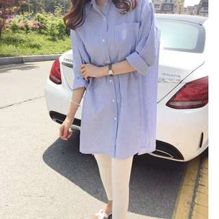 Light blue long shirt dress
