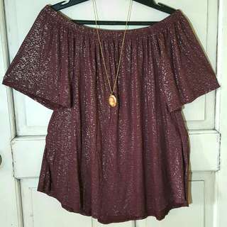 Plus size Offshoulder glittery maroon top