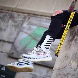 "INSTOCKS White ""Off White"" Stripe Long Socks"