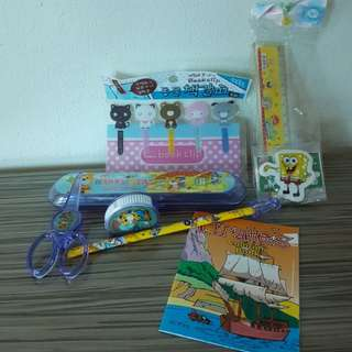 Colouring Book, pencil case, sharpener, ruler, book clips