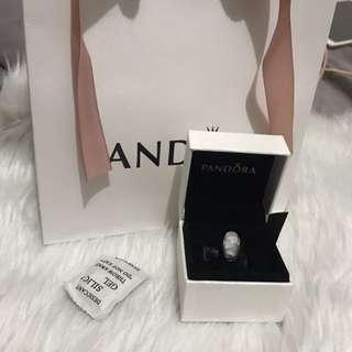 Auth Pandora White Glass Murano Charm