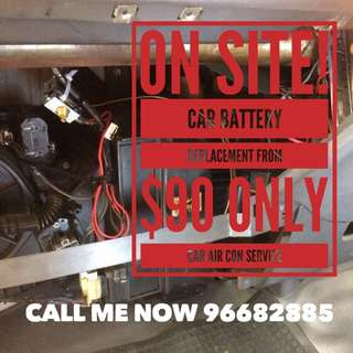 ON SITE CAR BATTERY REPLACEMENT AND CHANGE  ON SITE CAR AIRCON SERVICING