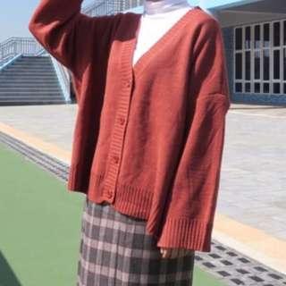 黑色 V領針織外套