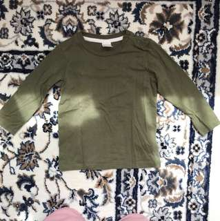 H&m olive green long sleeve tshirt 6-9 months