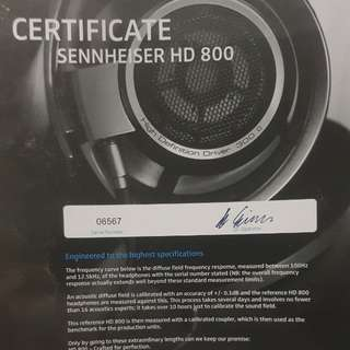 Sennheiser HD800 HD 800 (NOT HD800S) cheapest on carousell! With upgraded cable, and authenticity certificate!