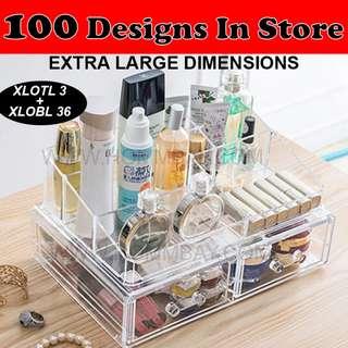 Clear Acrylic Transparent Make Up Makeup Cosmetic Jewellery Jewelry Organiser Organizer Drawer Storage Box Holder (XLOTL3 + XLOBL 36)