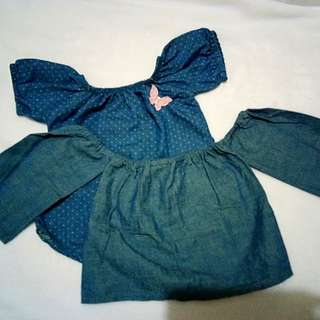 Off shoulder blouse take all for 120 pesos 6-9 mos