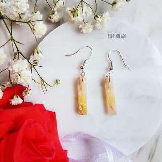 925 silver dried flower earrings