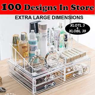 Clear Acrylic Transparent Make Up Makeup Cosmetic Jewellery Jewelry Organiser Organizer Drawer Storage Box Holder (XLOTL3 + XLOBL39)