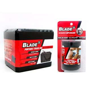Blade Portable Trash Bin and Car Headrest Cup Holder