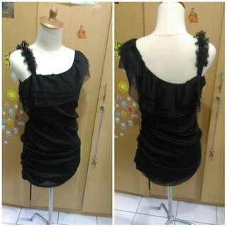 One shoulder gauze black mini dress