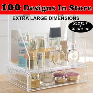 Clear Acrylic Transparent Make Up Makeup Cosmetic Jewellery Jewelry Organiser Organizer Drawer Storage Box Holder (XLOTL 7 + XLOBL 34)