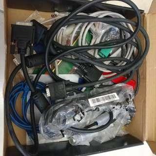VGA, DVI, LAN cable