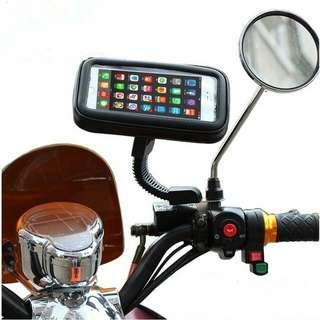 Motorcycle Rearview Mirror waterproof phone holder stand