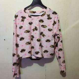 Pug Cropped Long Sleeves