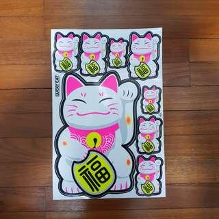 Fortune cat sticker per set $3.80