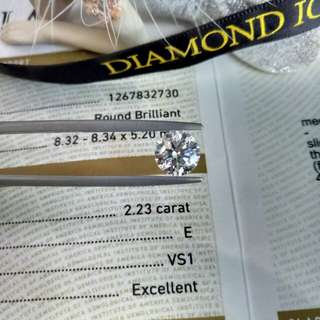 🌸罕有2.23卡 Oversize🌸高質量超靚 VS➕🎐GIA證書 2.23卡 E色 VS1 Ex Ex Ex FNT🎐 💎Oversize抵買✔ 💎E色夠白✔💎