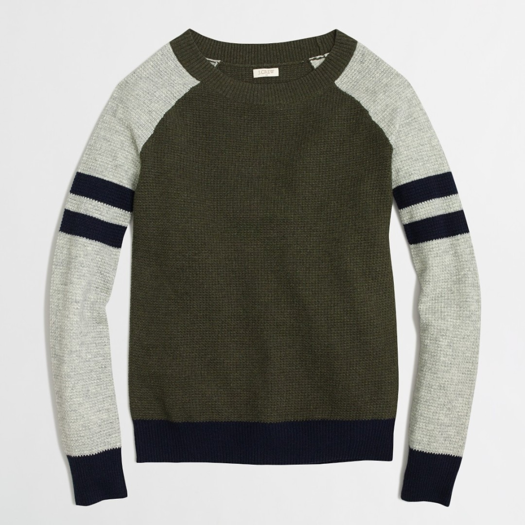 $140 JCREW varsity-stripe colorblock waffle sweater baseball size XXS